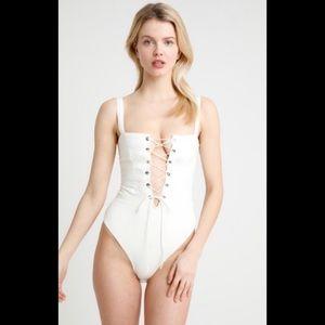 NWT For Love & Lemons Poppy Bodysuit Ivory XS